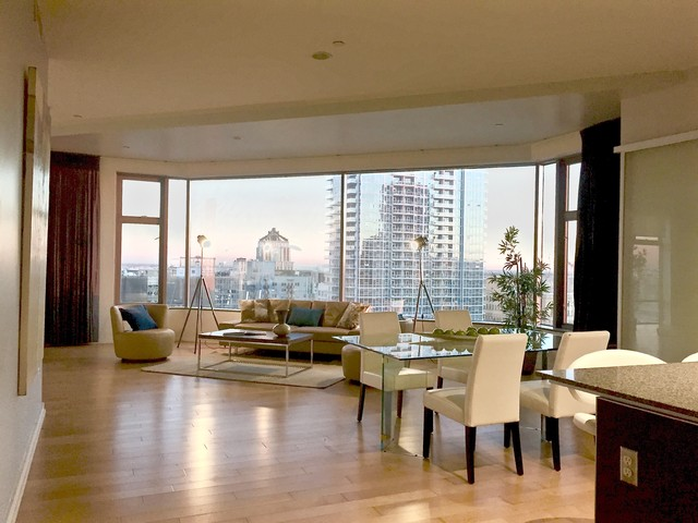 Stunning Downtown LA Sky Loft, Los Angeles Vacant Home Staging Contemporary  Living Room