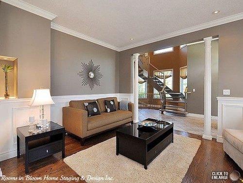 Brown Couch In Gray Room