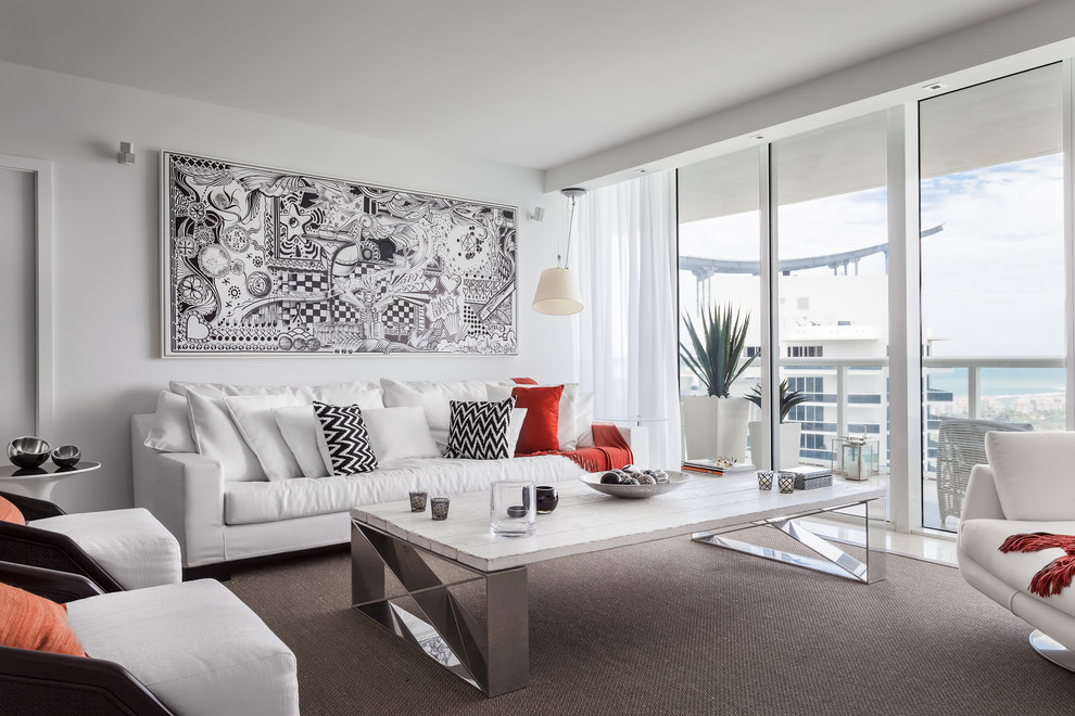 Example of a trendy living room design in Miami with white walls