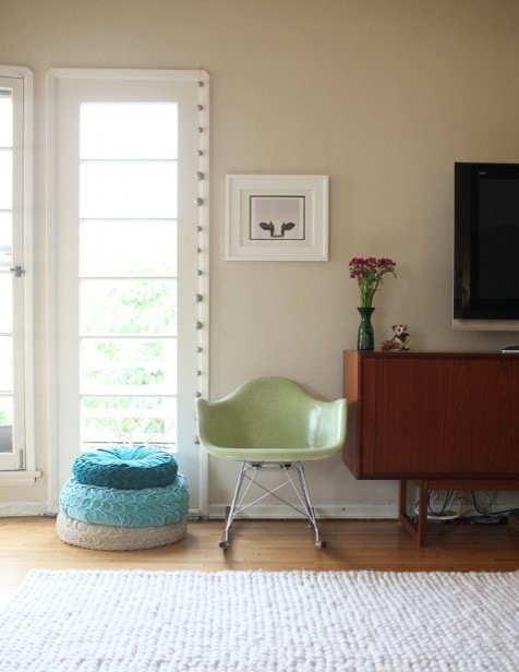 stylish chair next to tv