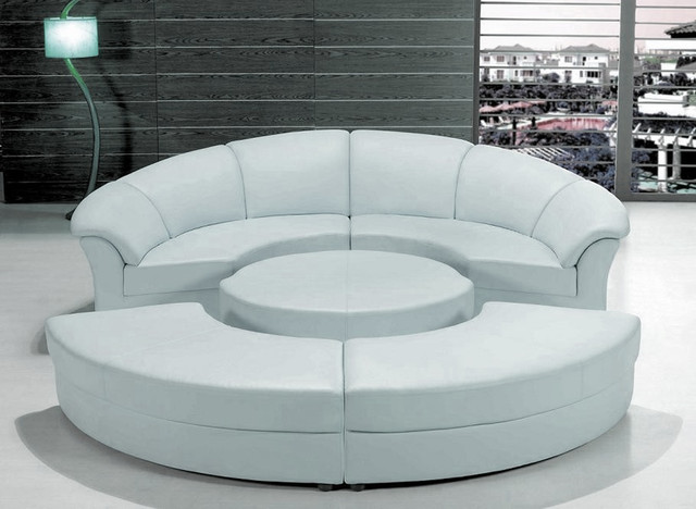 Stylish White Leather Circular Sectional Sofa Modern