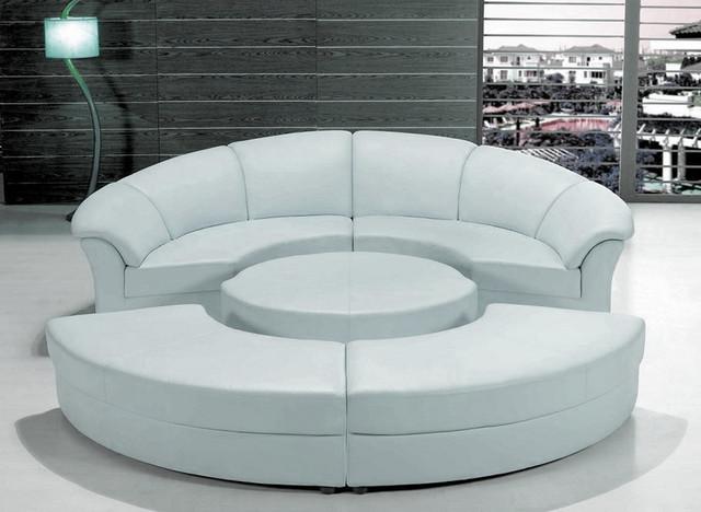 Stylish White Leather Circular Sectional Sofa Modern