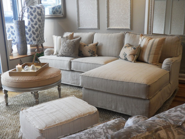 subtle stripes on a slipcovered chaise sectional beach style living room beach style living room furniture
