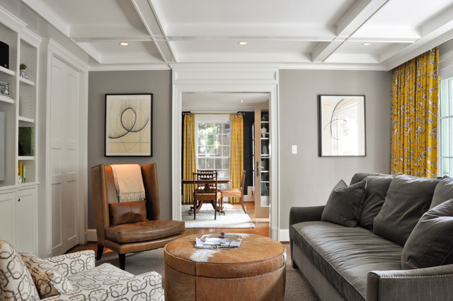 Example Of A Trendy Enclosed Living Room Design In DC Metro With Gray Walls