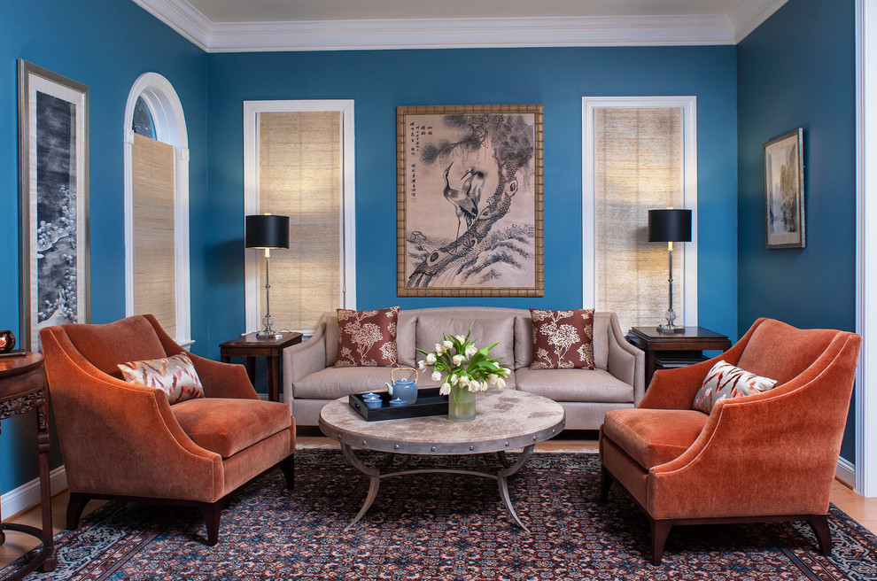 Living room - traditional living room idea in DC Metro with blue walls