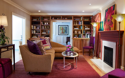 purple is a great way to soften and feminize an otherwise aggressive and masculine color eclectic living room - Red And Purple Living Room