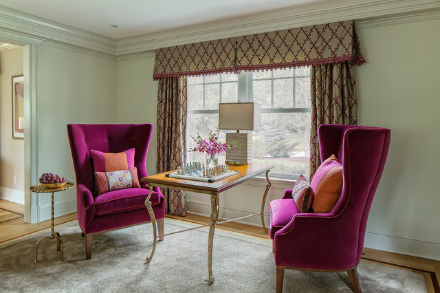 Scarsdale suburban jewel tones that is transitional - Jewel tone living room ...