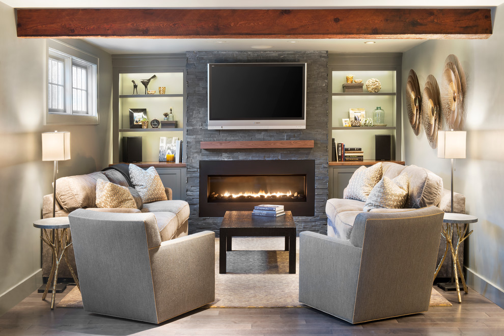 Inspiration for a timeless living room remodel in Boston with a ribbon fireplace