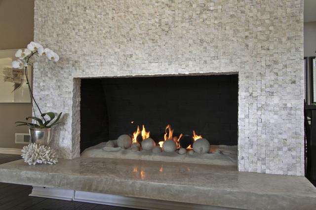 Sugar Cube Mosaic Fireplace Contemporary Living Room