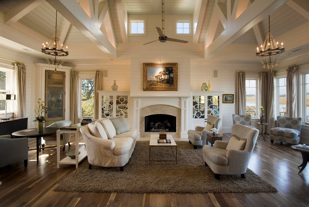 Living room - huge transitional living room idea in Charleston with white walls and a standard fireplace