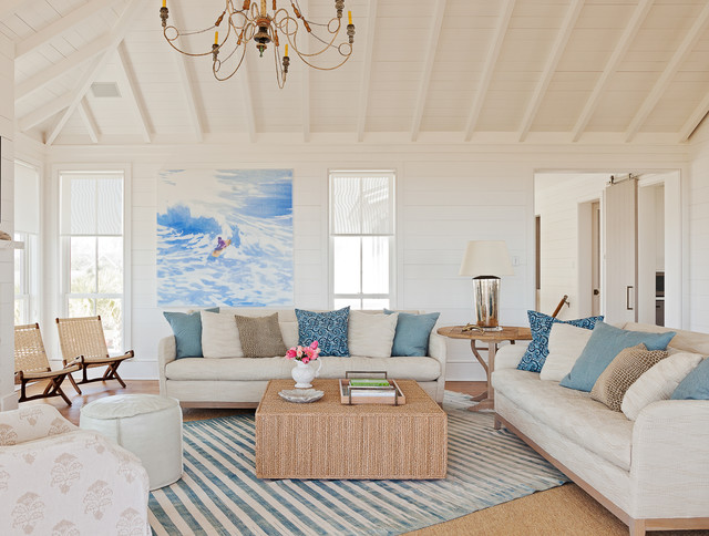 Sullivans Island Seaside Retreat   Living Room Beach Style Living Room