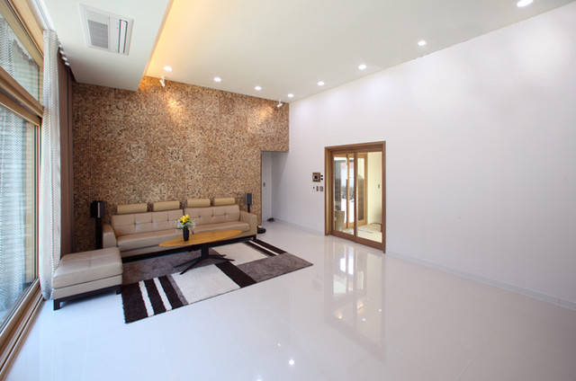 Lovely Sumba Coconut Mosaic Tiles Modern Living Room