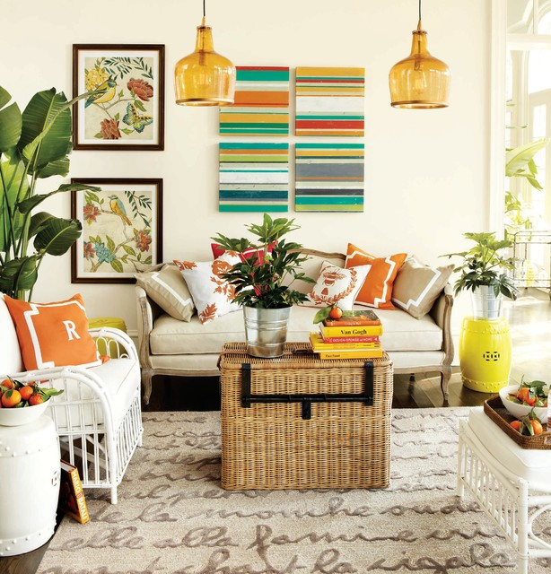 Summer Color Living Room Traditional Living Room