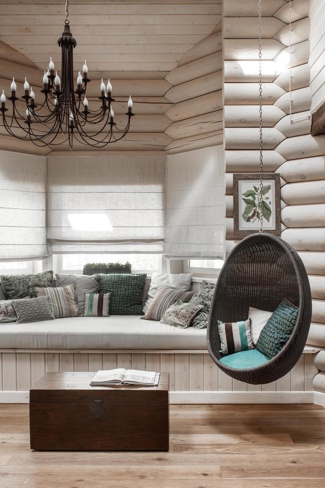 Living room - farmhouse light wood floor living room idea in Moscow