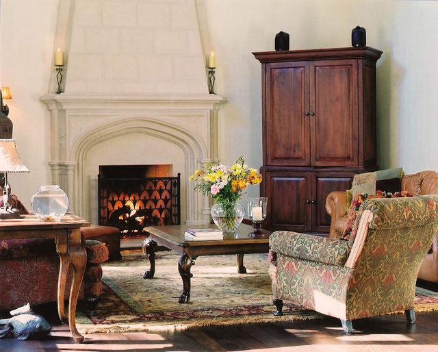 Sunbury Mantel With Overmantel Traditional Living Room