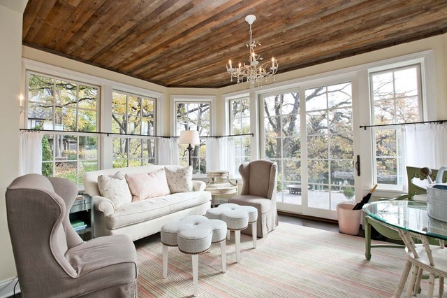 Sunroom traditional living room