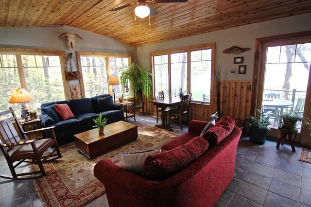 Sunroom With Cedar Woodwork