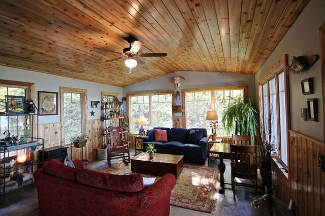 Sunroom with cedar woodwork for Cedar sunroom