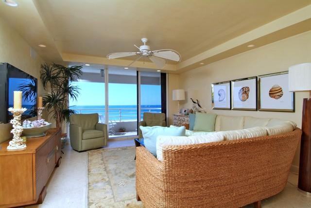 Sunset Beach Remodel beach-style-living-room