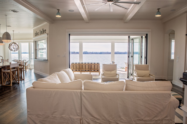 Sunset View Lake House beach-style-living-room