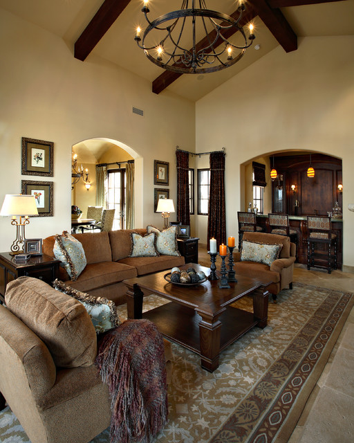 Superstition mountain traditional mediterranean living - Pictures of living room designs ...