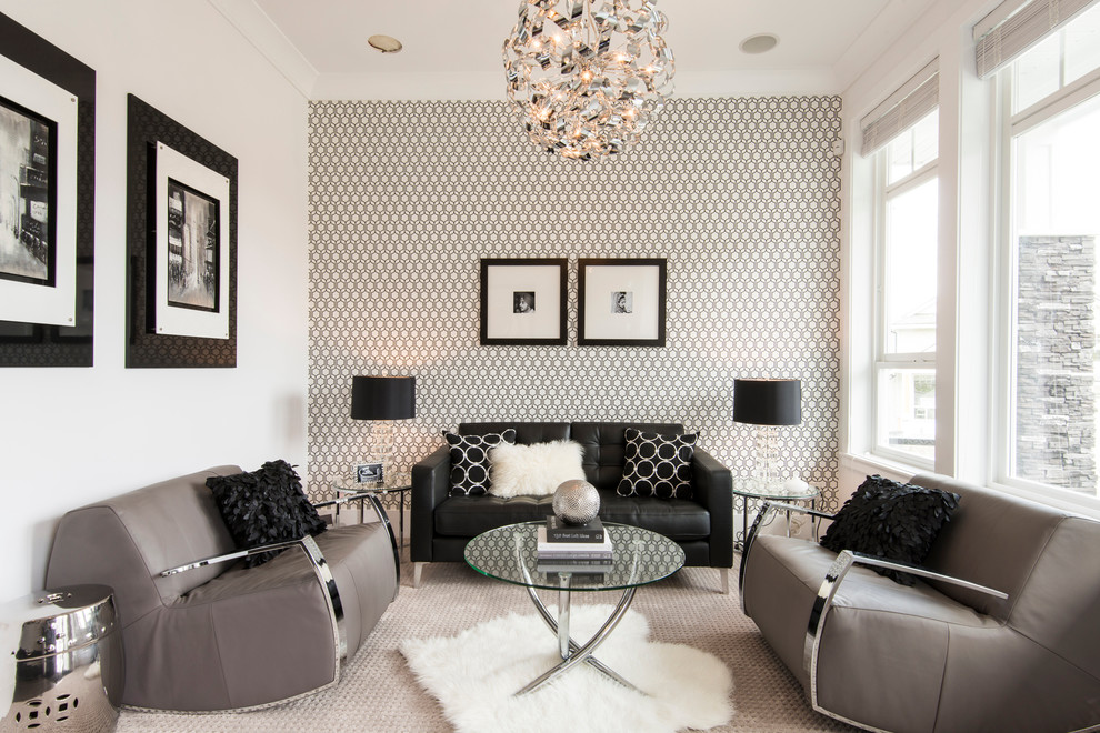 Mid-sized trendy carpeted living room photo in Vancouver