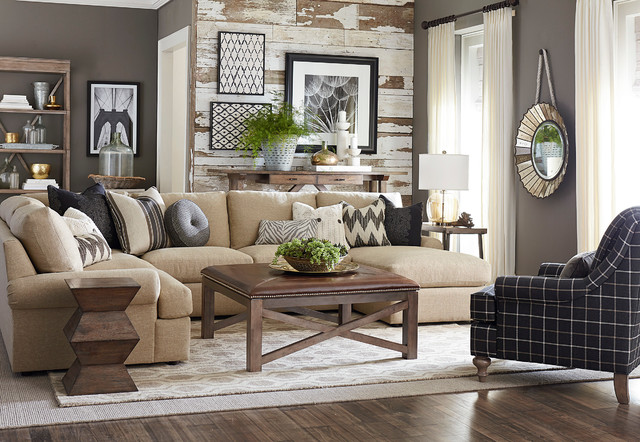 Sutton u shaped sectional by bassett furniture for U shaped living room layout