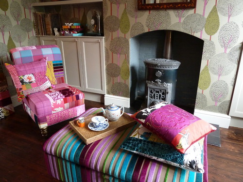 Suzy Newton patchwork cushions, patchwork chair and made to measure storage foot