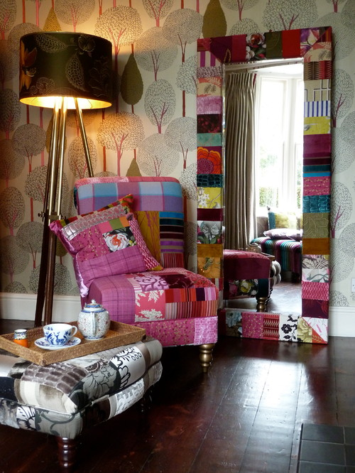 Suzy Newton patchwork mirror, patchwork chair and patchwork footstool. With a be