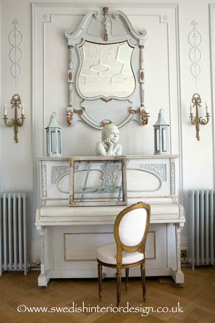 Swedish Piano amp Mirror Traditional Living Room