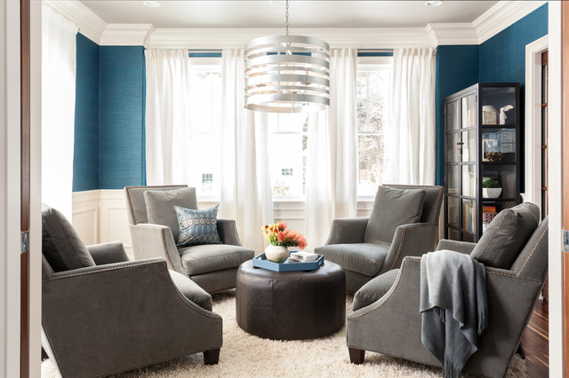 Example Of A Transitional Formal And Enclosed Dark Wood Floor Living Room Design In Boston With