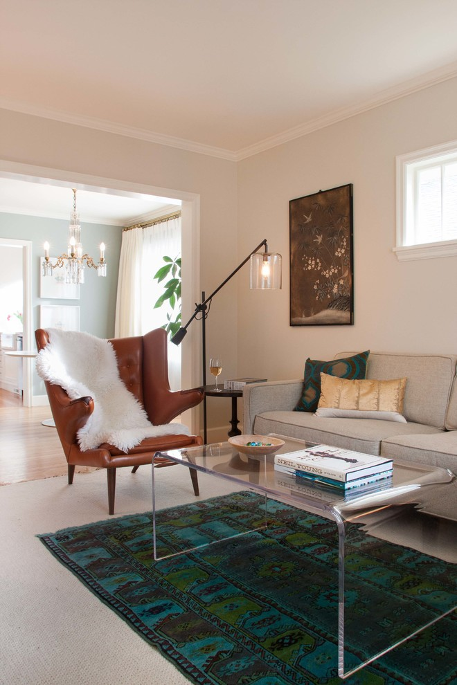 Inspiration for a transitional enclosed living room remodel in Seattle with beige walls