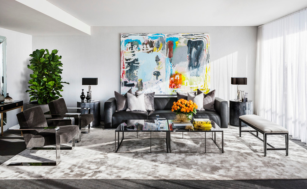 Inspiration for a contemporary formal living room remodel in Sydney with gray walls
