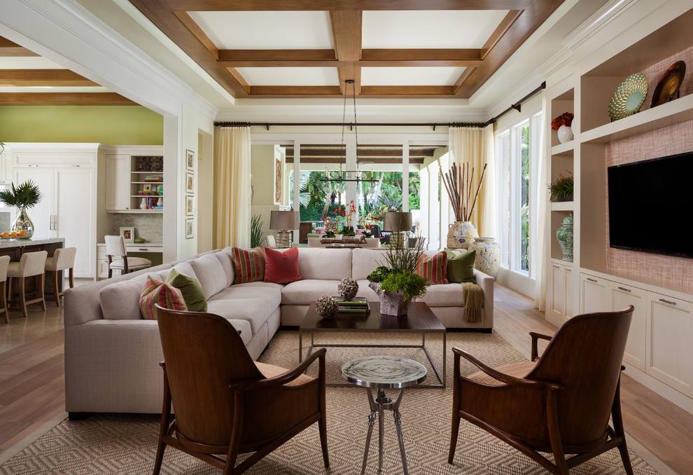 Living room - transitional formal and open concept living room idea in Miami with a wall-mounted tv