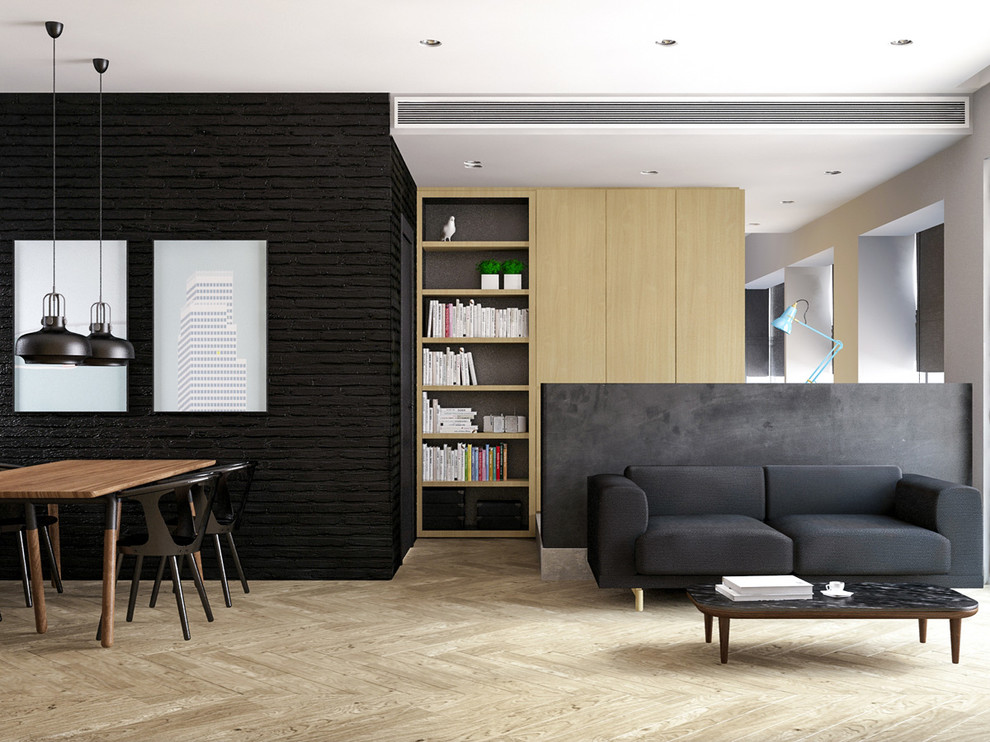 Inspiration for a small industrial living room remodel in Hong Kong