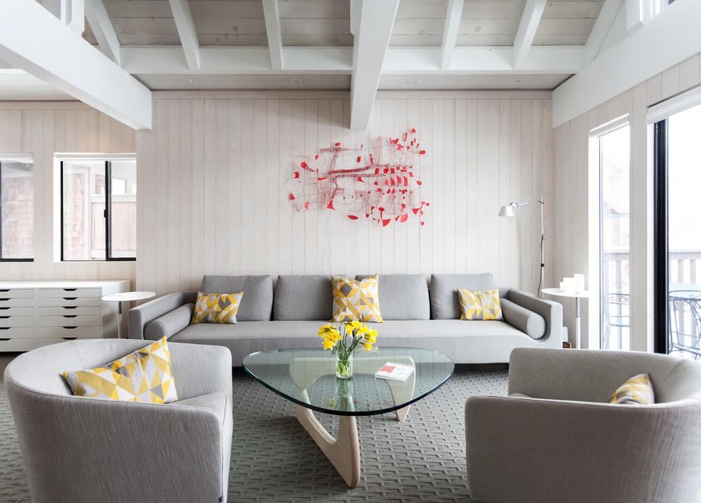 Living room - scandinavian open concept carpeted living room idea in Sacramento with no tv