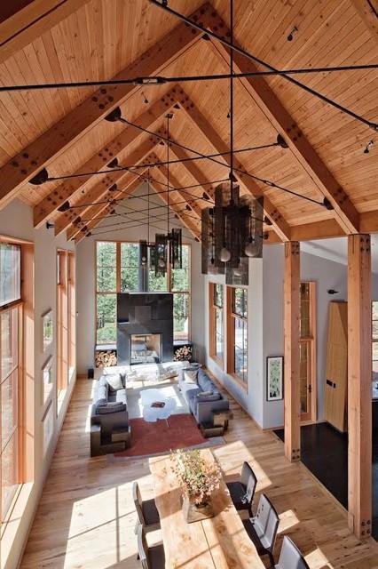 Tahoe Ridge House rustic-living-room