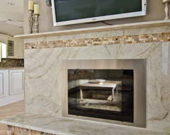 Taj Mahal Quartzite Fireplace Surround contemporary-living-room