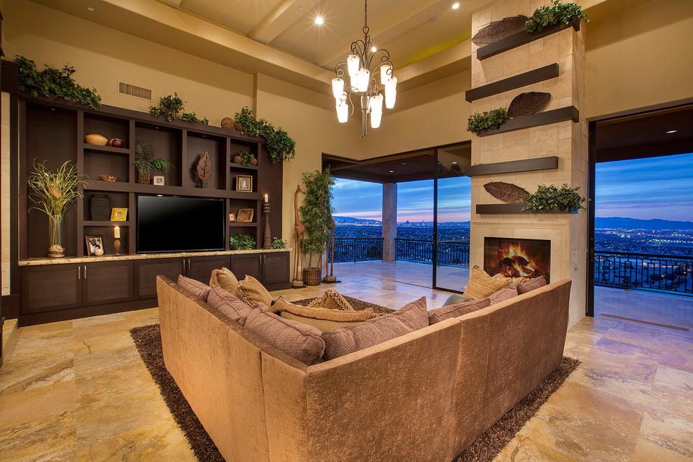 Living room - zen formal living room idea in Las Vegas with yellow walls, a standard fireplace, a tile fireplace and a media wall