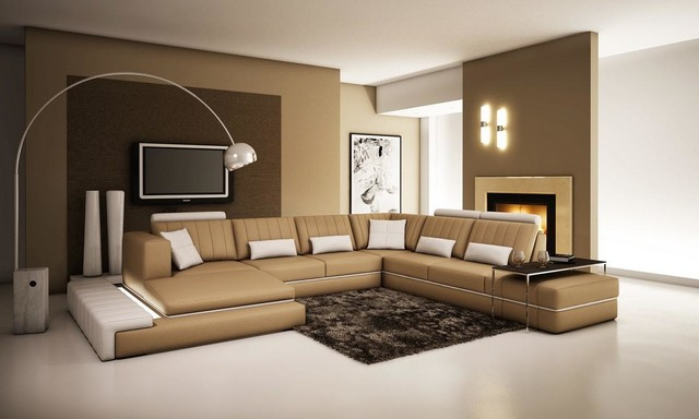 Tan And White Bonded Leather Sectional Sofa With Adjustable Headrests  Modern Living Room