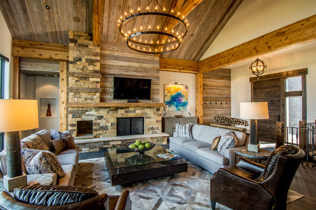 Tanglewood Contemporary Residence Rustic Living Room