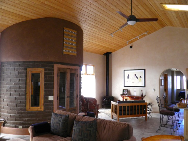 Taos Straw Bale House Southwestern Living Room Other