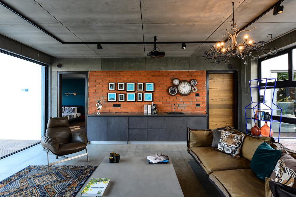 Living room - mid-sized industrial concrete floor living room idea in Hyderabad