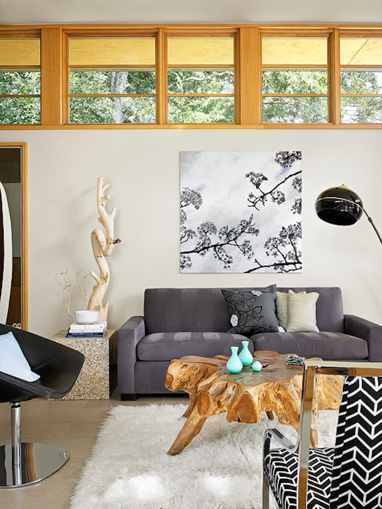 Living room - zen living room idea in Austin with white walls