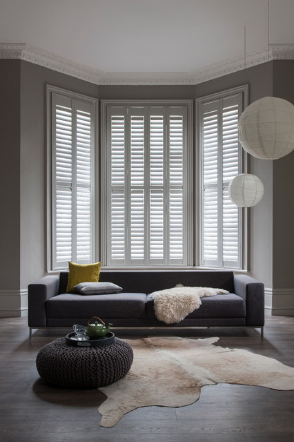 Taupe Bay And Green Full Height Window Shutters Modern