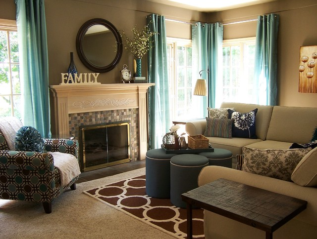 teal and taupe living room - contemporary - living room - grand