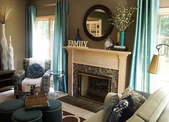 Teal and taupe living room contemporary living room for Brown taupe living room