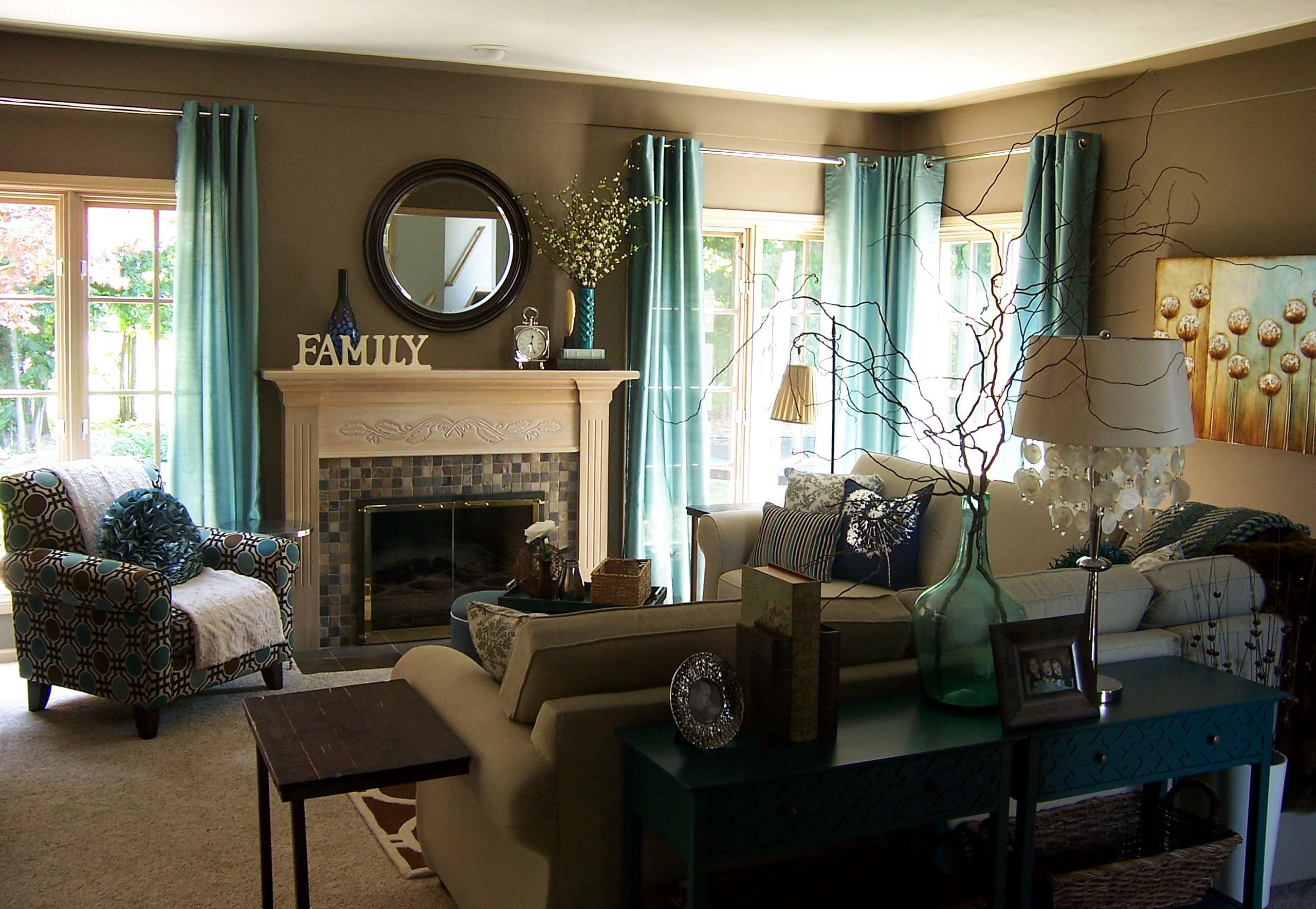 Teal Living Room | Houzz
