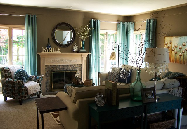 Teal And Taupe Living Room Contemporary