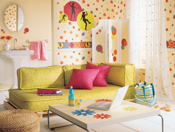 Teen girls bedroom collection flower power for Young modern living room
